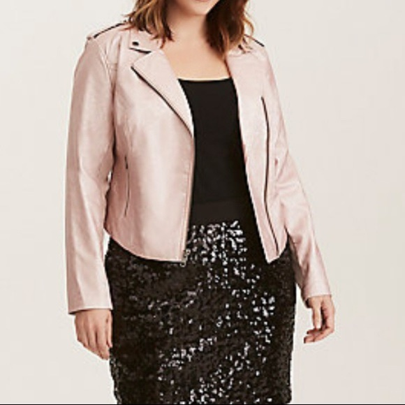 0ac38a71b11 Torrid rose gold cropped faux moto leather jacket. NWT